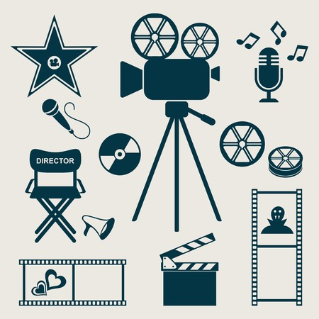 Set of retro movie and music icons Vector