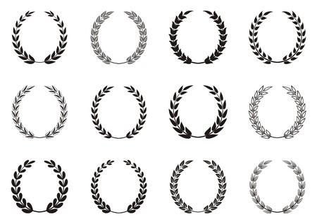 Black vector laurel wreaths collection in rectangles