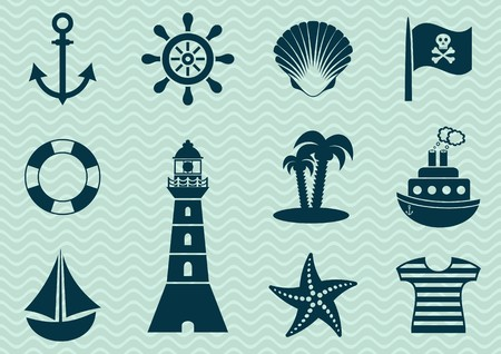 anchor man: Set of various marine and pirate silhouette icons Illustration
