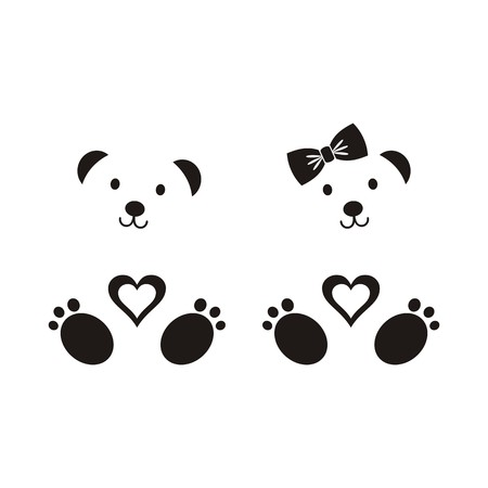Black vector teddy bear icons boy and girl