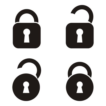 Four black vector open and closed locks icons Illustration