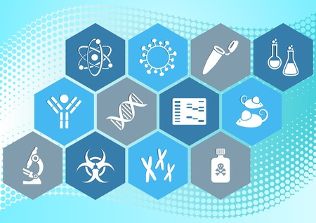 Modern molecular biology science icons collection in hexagons