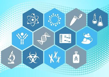 biologia molecular: Colecci�n moderna iconos de la ciencia de la biolog�a molecular en hex�gonos