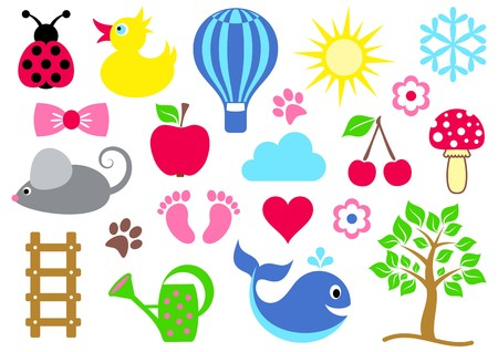 Cute colorful baby icons collection on white background Vector