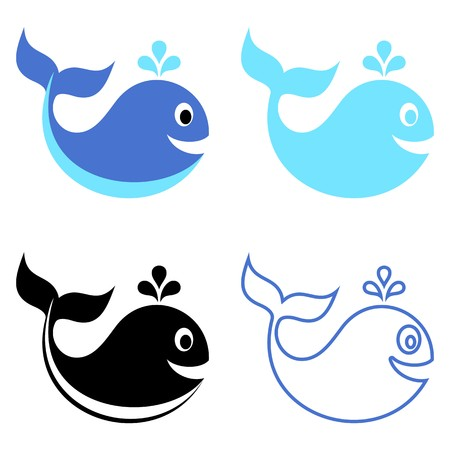 Cute vector blue and black whale icons isolated