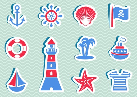 Various marine and pirate blue and red icons