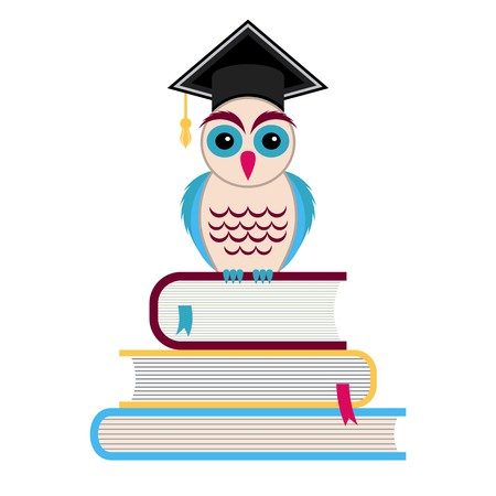 Colorful owl with graduation hat sitting on books Vector