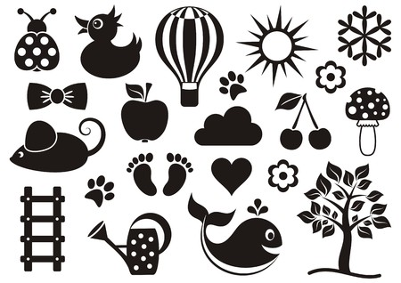 Cute black baby icons collection on white background