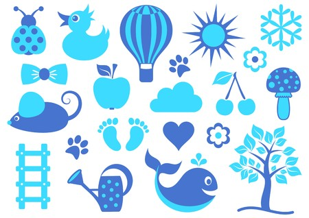 Cute blue baby icons collection on white background Vector