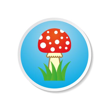 inedible: Cute colorful vector amanita icon on blue label