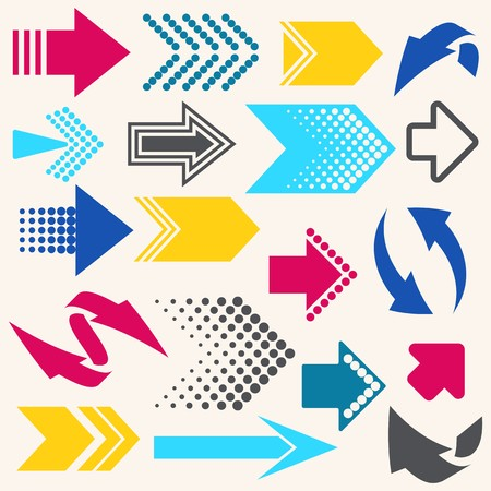Set of various vector colorful arrow sign icons Vector