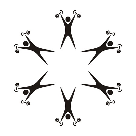 Abstract black  fitness icon with exercising figures Vector