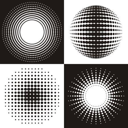 Vecteur cercle noir collection de design en demi-teinte abstraite