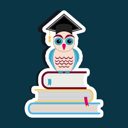 Colorful owl with graduation hat and books Vector