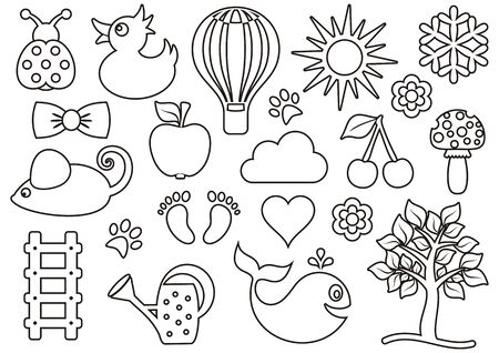 Cute black baby icons outline collection on white Vector