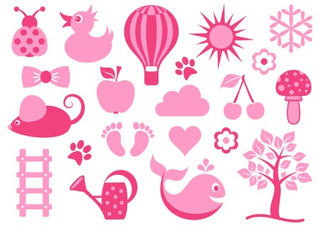 Cute pink baby icons collection on white background Vector