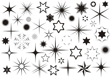 asterisk: Various black stars collection on white background
