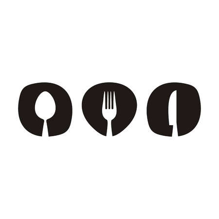Black abstract restaurant menu design with cutlery isolated Ilustração