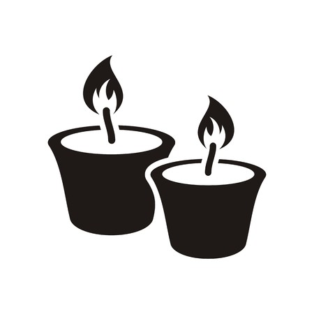 tribute: Black christmas candles icon isolated