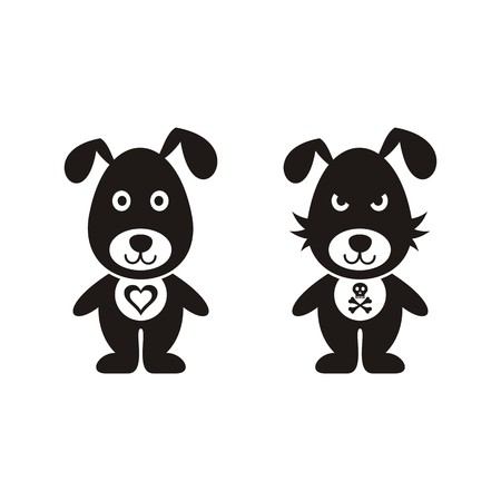 Black lovely and bad dog icons isolated