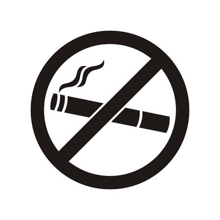 no fumar: Negro ning�n icono de fumar en el fondo blanco