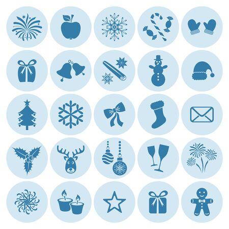 campanas de navidad: Azules de la Navidad y la silueta de invierno iconos en círculos
