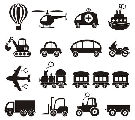 puffing: Set of cute black transport icons isolated