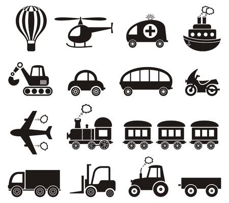 old tractor: Set van schattige zwarte vervoer iconen geïsoleerd