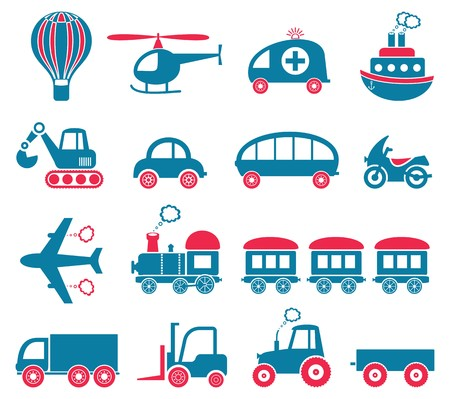 Blue and red cute vector transport icons collection Illustration