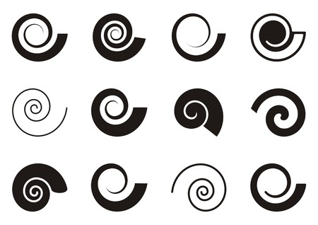 Set of various spiral icons on white background 일러스트