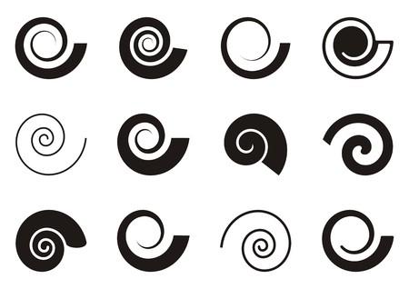 Set of various spiral icons on white background Illustration