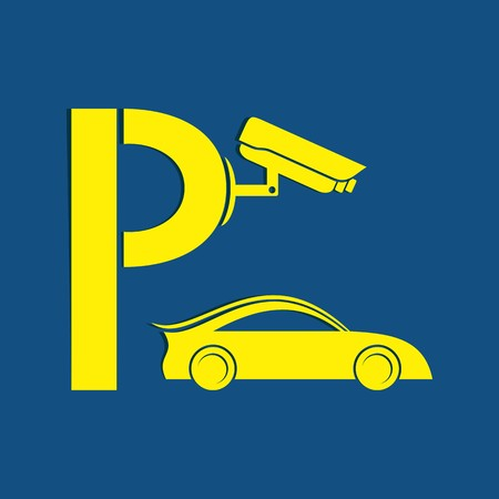 Yellow symbol of guarded parking with security camera