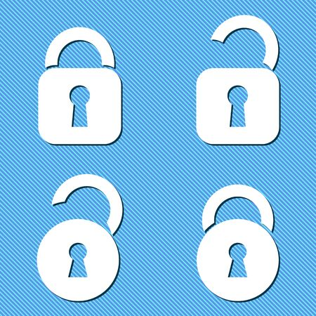 Four white vector open and closed padlock icons Vector