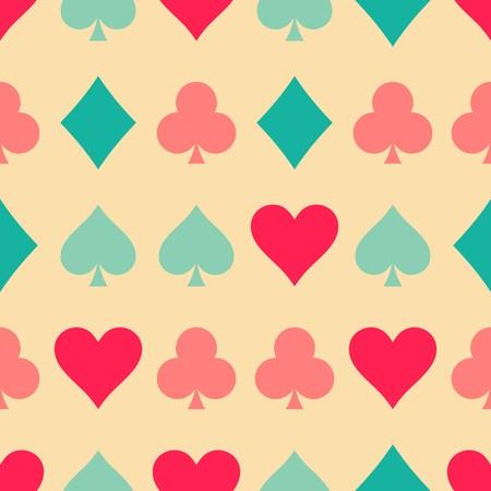 playing card symbols: Patr�n de colores retro sin fisuras con los s�mbolos de la tarjeta de juego