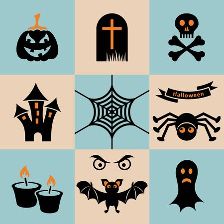 Set of black and orange scary halloween icons Vector