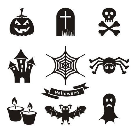 Set of black scary halloween silhouette icons isolated Vector
