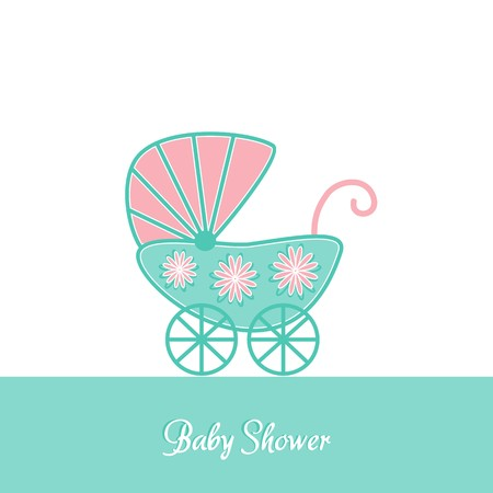 Baby shower vintage invitation card template with stroller Vector