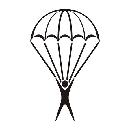 흰색 배경에 검은 색 벡터 낙하산 점퍼 아이콘