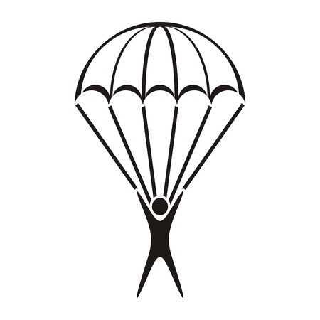 Black vector parachute jumper icon on white background