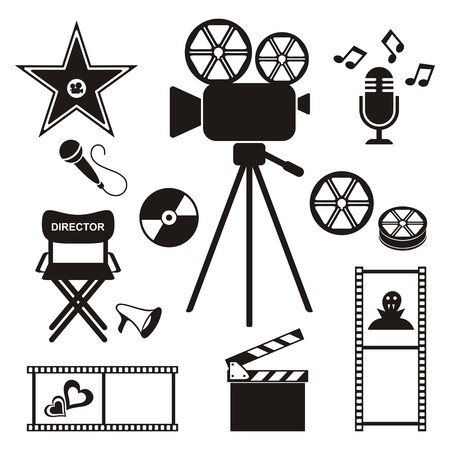 walk of fame: Set of retro vector movie and music icons