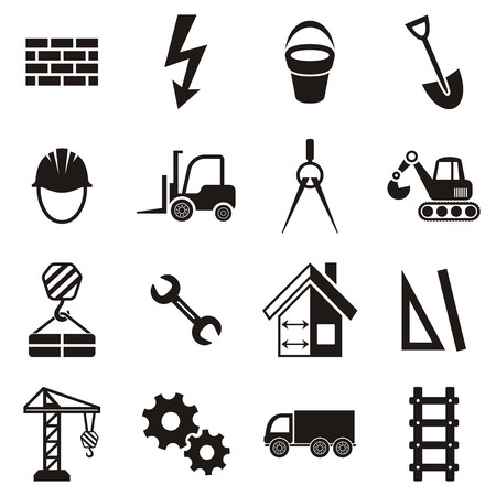 Black vector abstract construction icons on white background Vector