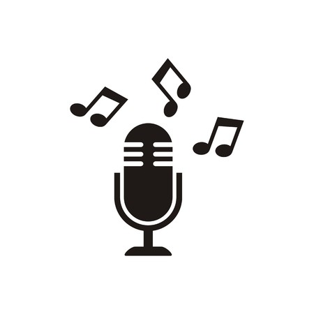 entertaining presentation: Black vector microphone icon with notes isolated