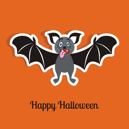 Happy halloween orange card with funny scary bat Vector