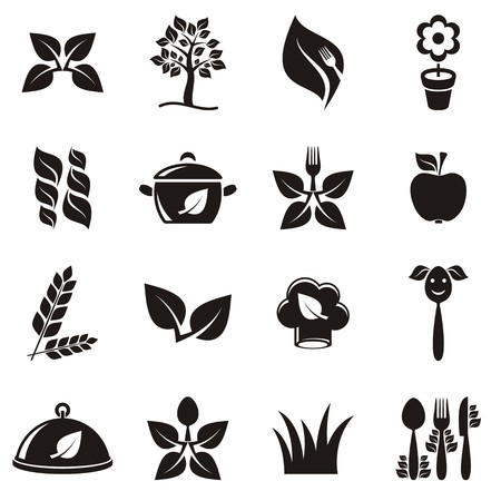Black vector vegetarian organic food icons set isolated Vector