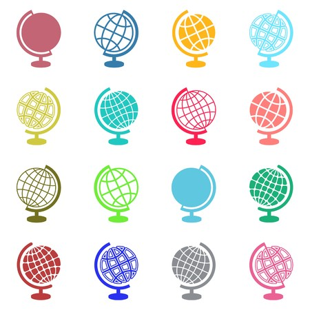 Colorful vector abstract globe icons on white background