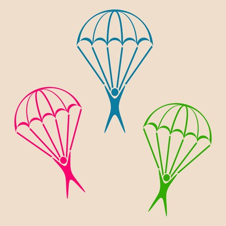 parachutist: Colorful vector parachute jumper icons on retro background Illustration