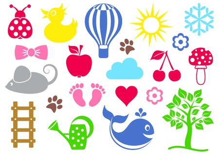 Cute colorful baby icons set on white background Vector
