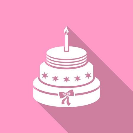 White birthday cake on pink background flat design