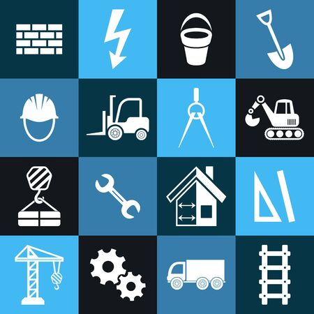 White vector abstract construction icons in blue squares Vector
