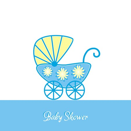 Baby boy shower vintage invitation template with stroller Vector